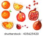 set of fruits   orange  orange... | Shutterstock . vector #435625420