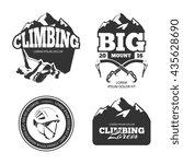 vintage mountain climbing logo... | Shutterstock . vector #435628690