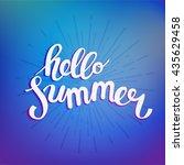 hello summer. poster on beach... | Shutterstock .eps vector #435629458