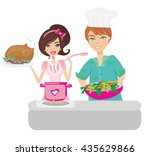 pair of funny cooks on white  | Shutterstock . vector #435629866