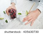 side close view man hands hold... | Shutterstock . vector #435630730