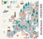 vector map of europe with... | Shutterstock .eps vector #435631300