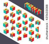 isometric 3d type font set.... | Shutterstock .eps vector #435633088