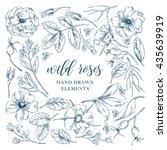 vector ink graphic wild rose... | Shutterstock .eps vector #435639919