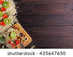 wooden desk with two jar of... | Shutterstock . vector #435647650