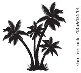 silhouettes of the coconut trees | Shutterstock .eps vector #435648514