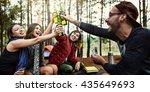 backpacker camping hiking...   Shutterstock . vector #435649693