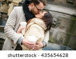 young hipster couple with take... | Shutterstock . vector #435654628