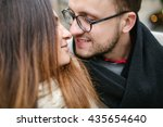 young hipster couple kissing... | Shutterstock . vector #435654640