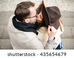 young hipster couple kissing... | Shutterstock . vector #435654679