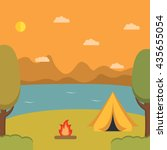 tourist camp against mountains...   Shutterstock .eps vector #435655054