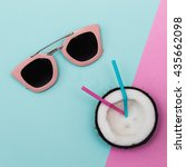 sunglasses with party fruit in... | Shutterstock . vector #435662098
