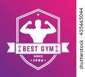 best gym vintage logo  white...   Shutterstock .eps vector #435665044