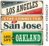 vintage tin sign collection... | Shutterstock .eps vector #435666214