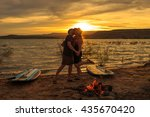 a couple sunset silhouette... | Shutterstock . vector #435670420