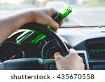 drunk young man driving a car... | Shutterstock . vector #435670558