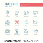 set of modern vector plain... | Shutterstock .eps vector #435671614