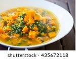 vegan lentil curry with pumpkin ... | Shutterstock . vector #435672118