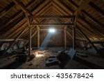 Small photo of An old spooky attic of a house