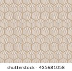 seamless beige hexagons with... | Shutterstock .eps vector #435681058