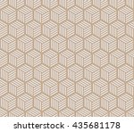 seamless beige hexagons with... | Shutterstock . vector #435681178