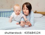 cute baby boy with a beautiful... | Shutterstock . vector #435684124