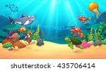 animals in underwater world ... | Shutterstock .eps vector #435706414
