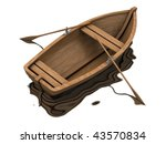 Wood boat isolated on white with reflection - stock photo