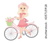 vector blond girl with bicycle | Shutterstock .eps vector #435715918