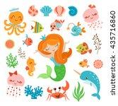 set of cute underwater design...   Shutterstock .eps vector #435716860