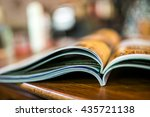 magazine with open pages up... | Shutterstock . vector #435721138