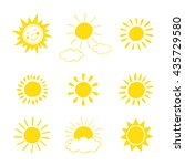 hand drawn sun icon set. vector ... | Shutterstock .eps vector #435729580
