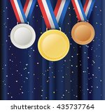 set of medals and ribbons over... | Shutterstock .eps vector #435737764