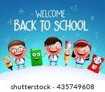 kid students vector characters... | Shutterstock .eps vector #435749608