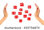 two female hands with red... | Shutterstock . vector #435756874