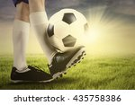 close up of foot of football... | Shutterstock . vector #435758386