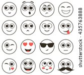 set of smiley faces isolated on ... | Shutterstock .eps vector #435763888