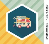 coffee shop car flat icon with... | Shutterstock .eps vector #435765559