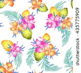 tropical orchid pattern   Shutterstock .eps vector #435775909