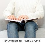 blind man reading braille book... | Shutterstock . vector #435787246