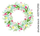 vector wreath with herbs ... | Shutterstock .eps vector #435791950