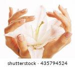 beauty delicate hands with... | Shutterstock . vector #435794524