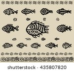 decorative tribal fish. vector... | Shutterstock .eps vector #435807820