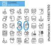cleaning   thin line and pixel... | Shutterstock .eps vector #435807850