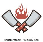 kitchen knifes in fire | Shutterstock .eps vector #435809428