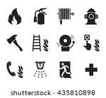 fire emergency icons set   ... | Shutterstock .eps vector #435810898