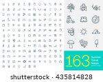 163 line icons for summer ... | Shutterstock .eps vector #435814828