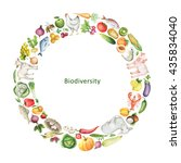 watercolor biodiversity... | Shutterstock . vector #435834040