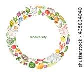 watercolor biodiversity... | Shutterstock . vector #435834040