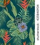 seamless tropical flower  plant ... | Shutterstock . vector #435840934